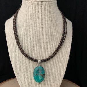 Silpada Turquoise 925 Silver on woven leather cord